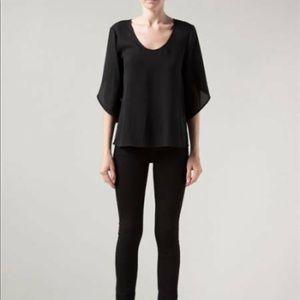 Diane Von Fustenberg Nancy Black Slit Sleeve Top